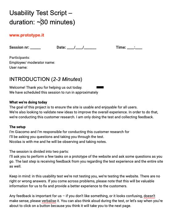 Esempio script usability test moderato